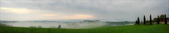 Mist in the Valley (kate willmer) Tags: mist trees panorama grass sky clouds sunset tuscany italy