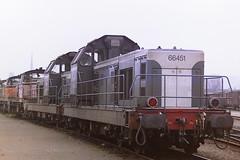 SNCF 66451 (bobbyblack51) Tags: sncf class bb66400 cafl cem alsthom fiveslille bobo diesel locomotive 66451 rouen sotteville depot 1997