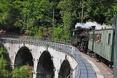 BFD 2-6-0RT on the viaduct (TrainsandTravel) Tags: switzerland schweiz suisse narrowgauge voieetroite schmalspurbahn steamtrains trainsàvapeur dampfzüge blonaychamby brigfurkadisentisbahn bfd 260rt 3