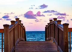 Beach and Bridges (Chanda Verick) Tags: beach bridge ocean waves clouds sky sea nature