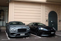 Bentley Continental Supersports Coupé 2018 & Aston Martin Vanquish 2013 (Instagram: R_Simmerman) Tags: bentley continental supersports coupé 2018 aston martin vanquish 2013 monaco monte carlo casino valet parking garage hotel combo harbor boulevard supercars sportcars hypercars monacocars carsofmonaco tunnel f1 saudi uae arab qatar switzerland swiss tuning
