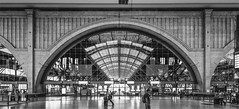--  -6--7--    --8--9-  -10- (henny vogelaar) Tags: germany leipzig station hall bw reflections arches streetphotography hbf