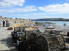 New Quay harbour with fishing creels (pefkosmad) Tags: ceinewydd newquay wales ceredigion cardiganbay seaside town resort fishing dolphinwatching