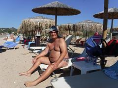 2018 09 30 PJ on sunbed St George's North (pj's memories) Tags: corfu stgeorgesbaynorth beach seaside speedos trunks tanthru kiniki