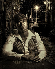Dejuansay in the Alley (TNrick) Tags: composite alley man hat pubhatmonochrome portrait sepia maryville tennessee easttennessee ftmyers florida