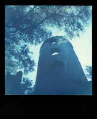 Racton Monument 1 (Skink74) Tags: colorsx70 england film impossibleproject instant lordington polaroid polaroidlandcamera sussex sx70 sx70alpha1se uk westsussex roidweek polaroidweek2018 monument tower racton ruin folly