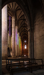 """the pews are empty as lights colour the soaring pillars of the Couvent des Jacobins à Toulouse, Toulouse, Haute-Garonne, Occitanie, France (grumpybaldprof) Tags: """"couventdesjacobinsàtoulouse"""" """"couventdesjacobins"""" """"churchofthejacobins"""" church jacobins dominican """"thomasaquinas"""" gothic catholic """"dominicanorder"""" convent """"stdominic"""" romanesque 1230 toulouse hautegaronne occitanie france """"4thlargestfrenchcity"""" tolosa airbus thales astrium """"southernfrance"""" """"lagaronne"""" """"garonneriver"""" """"fineart"""" ethereal striking artistic interpretation impressionist stylistic style contrast shadow bright dark black white illuminated colour colours """"wideangle"""" canon 80d """"canon80d"""" tamron 16300 16300mm """"tamron16300mmf3563diiivcpzdb016"""""""