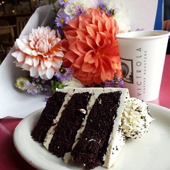 Lunch? Not the best choice... It's been a rough morning.  Scrolling through pictures of Turk. Then taking my film in to the only place remotely close to me only to find out they no longer develop 120 film. With my heart set on a piece of chocolate cake I (*Snap_Shot*) Tags: bouquet foodphotography dahlias chocolatecake everettigers honeybearbakery blackandwhitecake galaxys4 igerseverettwa iatethis kenmorefarmersmarket buttercream foodporn flowers