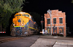 Jersey Girl at Night (Wheelnrail) Tags: ns norfolk southern emd sd70ace 1071 central railroad new jersey cnj tipp city ohio oh toledo subdivision csx k524 signal signals night photography flash girl locomotive train trains