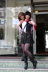 Me and friend at Eastbourne (Miss Nina Jay) Tags: trannie boots tights