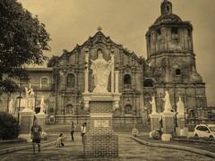 Church in Liliw , Philippines (STEHOUWER AND RECIO) Tags: philippines pilipinas church kerk saintjohn building structure architecture history historical sepia people car tree historisch mensen auto monochrome monochroom travel holiday liliw luzon simbahan iglesia igreja церковь église sépia καστανόχρουσ εκκλησία