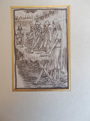 Tissot Drawing 120 for Brunoff 119 La pâque des Juifs (Phillip Medhurst) Tags: passover pâque pascha pesach bible exodus ancientestament tissot tanakh tnakh oldtestament