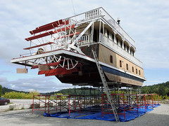 The Chrisalis II replica paddle-wheeler in Wakefield, Quebec. (Ullysses) Tags: alanhopkins alanhopkinsarchitech chrisalisii chrisalisiipaddlewheeler wakefield quebec canada gatineauriver rivièregatineau autumn automne fall paddlewheeler riverboat replicapaddlewheeler