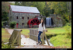 Courtney at The Grist Mill (Peter Camyre) Tags: grist mill sudbury ma mass massachusetts longfellows foliage autumn fall new england peter camyre photography beautiful pretty blue jeans high heels bridge water green trees colors flickr groups canon 5d mkiii female model posing fashion outfit glamor vogue
