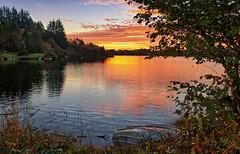 October morning, Norway (Vest der ute) Tags: xt20 norway rogaland karmøy vormedal water waterscape landscape lake sky clouds reflections sunrise leaves grass trees serene boat fav25 fav200