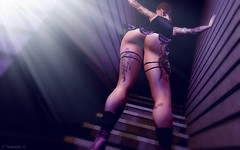 Stairway to Booty Heaven (Troublephotos) Tags: secondlife sl virtual game cgi render firestorm windlight female girl woman lady pinup cute sweet sexy bellezafreya catwacatya brunette anypose lingerie couture risque