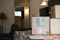 Moving Box on Counter (hireahelper) Tags: box boxes kitchen indoors home house fragile lights white cardboard moving mover brown sign text packing