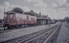 "Caboose Study (Neal3K) Tags: red depot tracks ""southernrrx471"" barnesvillega constructioncamera filmcamera fujiworkrecord35mm georgia kodakportra400 workcamera"