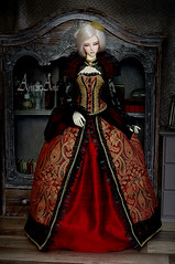 Alice's Heart Queen (AyuAna) Tags: bjd ball jointed doll dollfie ayuana design minidesign handmade ooak clothing clothes dress set outfit vetement robe gown historical renaissance fantasy style fashion couture sewing sewingfordolls sd16 soom supergem vesuvia