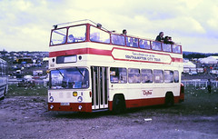 Slide 122-80 (Steve Guess) Tags: derby day buses epsom downs surrey england gb uk racecourse southampton leyland atlantean open top topper topless eastlancs wow529j hnp898j wow531j