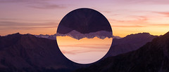 Ringworld (Madpenguin Photo) Tags: otztal abstract photomanipulation ring circle mountains sunset abstrait autriche
