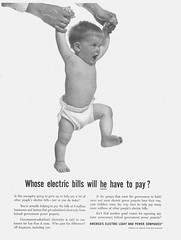 1955 Ad, Government-Subsidized Electricity, Toddler Baby, America's Electric Light & Power Companies (classic_film) Tags: ad advertising advertisement añejo alt american america advert anuncio anzeige ads retro revista reklame época ephemeral classic clásico vintage old nostalgia nostalgic printad publicidad publicité electricity power child baby kid 1955 1950s fifties magazine werbung