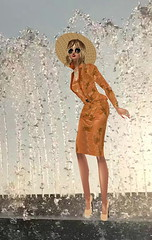 Soaking in my Suit (SoakinJo) Tags: wetlook wetclothes wetdress fountain wetclothing tashkent highheels stilettos