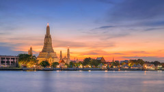 Wat Arun (Jirawatfoto) Tags: bangkok wat arun night thailand river phraya chao temple travel landmark tourism religion background city twilight thai beautiful traditional asia culture famous buddhism view boat architecture cityscape religious sunset ancient holiday water southeast pagoda sunrise