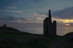 3KB06447a_C (Kernowfile) Tags: botallack tincoast enginehouse whealowles sky clouds dusk sunset water reflections cornishhedge grass bushes pentax