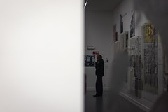 Reflective visitor (Sjaco Manuputty) Tags: art museum object artmuseum reflection visitor guest contemporaryart mhka antwerp antwerpen abstract blackandwhite people