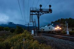 Dusk at Jansen (Kyle Yunker) Tags: amtrak amtk passenger train ge general electric p42dc atsf signal bridge dusk jansen