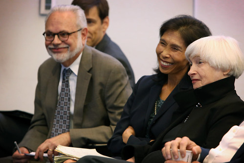 Brookings Senior Fellows David Wessel, Nellie Liang, and Janet L. Yellen watch the event