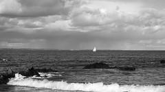 North Berwick, autumn day 02 (byronv2) Tags: northsea northberwick firthofforth forth rnbforth river riverforth sea coast coastal eastlothian scotland autumn boat yacht sail sailing blackandwhite blackwhite bw monochrome
