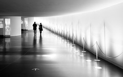 Dark Matter (DobingDesign) Tags: blackandwhite germany berlin reichstag einundausblicke people together two light walkway lightandshadow lines leading curve
