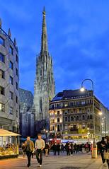 Vienna, Austria (szeke) Tags: street people city building bluehour church spire