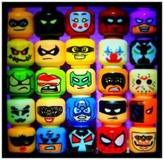 We All Wear Masks (LegoKlyph) Tags: lego bricks block mini figure heads masks hero villain halloween ghosts monsters colors fun silly art faces