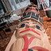 Artists Tom and Perry LaFortune, brothers and members of the Tsawout First Nation, preparing the totem pole at the Royal BC Museum