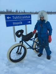 Arriving at the junction of the Aklavik and Inuvik to Tuk iceroads