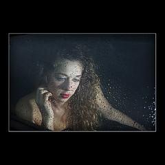 The Passenger (KoenK68) Tags: female portrait young pretty woman girl curls rain drops water window glass car automobile traveling passenger sad canon ©koenk68