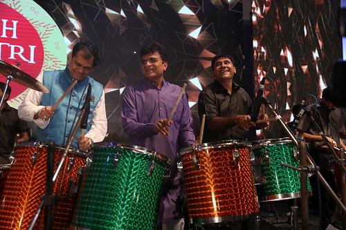 Ameet Satam and Kirit Somaiya play the drums at Ameet Satam's Adarsh Navratri Utsav at JVPD Grounds, Juhu 2