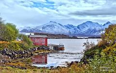 The boathouse (mansachs) Tags: boathouse boat lofoten norge nordnorge langøya vesterålen bø norway autumn mountains fjeld fjelde hdr
