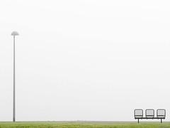 Empty bench (Ville Kangas) Tags: lamp post bench minimalistic minimalism fog