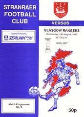 Stranraer vs Rangers - 1992 - Cover Page (The Sky Strikers) Tags: stranraer rangers skol cup road hampden stair park match programme 50p