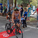 The Triathlet Miguel Valls Alemany gets upon his Cervers triathlon-bike at the Challenge Triathlon in Peguera