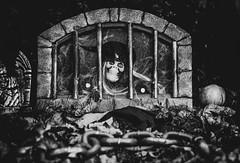 Community Spirit!  (Explored) (Katrina Wright) Tags: dsc2075edit skull evil frightening grave graveyard halloween bw monochrome nb chains horror fear
