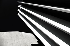 - - -  stripes & concrete - - - (christikren) Tags: austria architecture blackwhite christikren facade geometry noiretblanc sw black lookingup abstract lines stripes shadows
