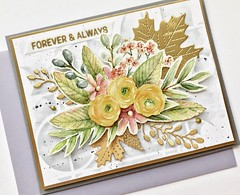 "Forever and Always.    #SSSFlickrchallenge#107  ""Do it With Dimenson.""    Products used:   Floral Bliss, Line Dance Stencil, and Antique Gold Embossing Powder.  Die cut stitched leaves in a mat paper are from Lawn Fawn . (Susie Lessard) Tags: sssflickrchallenge 107 sss floral bliss line dance stencil barely beige premium dye ink antiqued gold embossing powder sssflickrchallenge107"