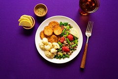 Roasted Ginger + Glazed Yams (ella.o) Tags: yams food meal vegetables healthy plate gourmet dish cooking beans vegan plantbased purple tomatoes