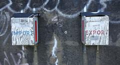 Import Export (Coastal Elite) Tags: train tracks railroad graffiti underpass overpass concrete walls wall halifax novascotia atlantic canada rail railway rails chemindefer trains ferroviaire street urban art spray paint transport maritimes canadian national cn wooden boxes wood import export rustic old
