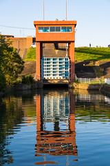 Gate (tokyobogue) Tags: japan kawaguchi arakawa river riverbank nikon nikond7100 d7100 sigma sigma1750mmexdcoshsm sunbeams sunset water gate